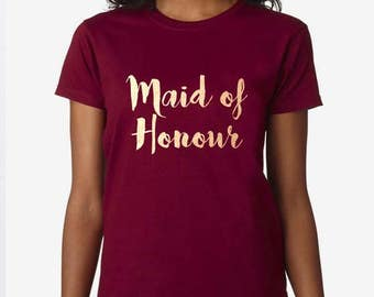Maid Of Honour, Bride To Be, Fiance, Feyonce, Wedding, Hen DO, Girls Party, Tee, T-Shirt, Top Rose GoldFree Ship