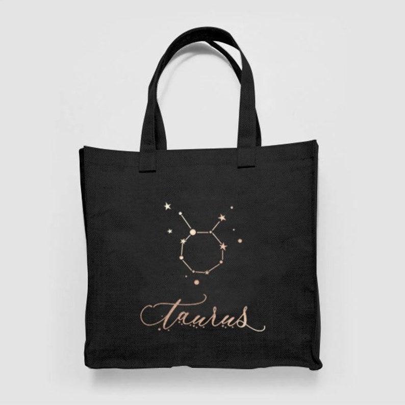Taurus Astrology Horoscope Star Illustration Pattern Woven Canvas Shopper  Tote Recycled Bag Shopping Gym Books Tumblr Funny Joke Beach
