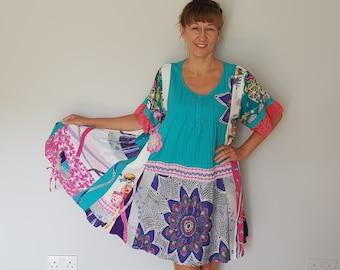 1X-2X PRAIRIE FLOWER Upcycled Plus Size Shabby Chic Summer Tunic  Upcycled Boho Gypsy Cowgirl Tunic Country Chic Tunic Plus Size Leggings