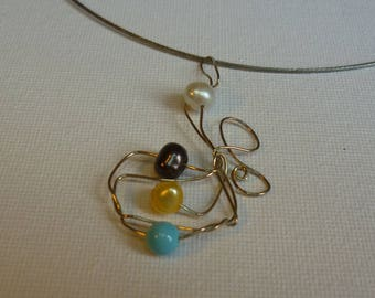 Pendant with freshwater pearls