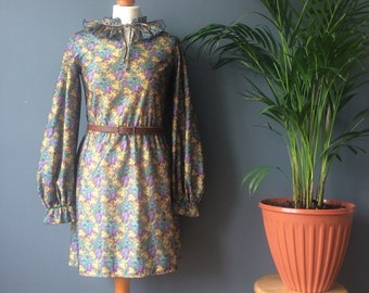 Vintage 70s Blue Green Floral Print Pleated Collar Balloon Sleeve Mini Dress 10