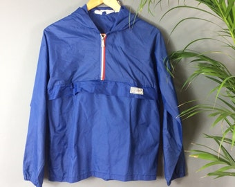 Vintage 70s Blue Red White Waterproof Cagoule Jacket Hood Zip Up Pouch 10 12