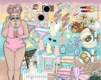 Summer Afternoon Clip Art, Summer clipart Illustration, planner sticker art, Fashion girls, Summer theme, lake, beach, vacation, food, party