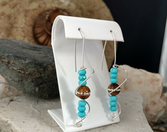 Turquoise earring,one of a kind,wire wrapped earring,contemporary,swarovski crystals,dangle earring,contemporary,geometric,southwestern