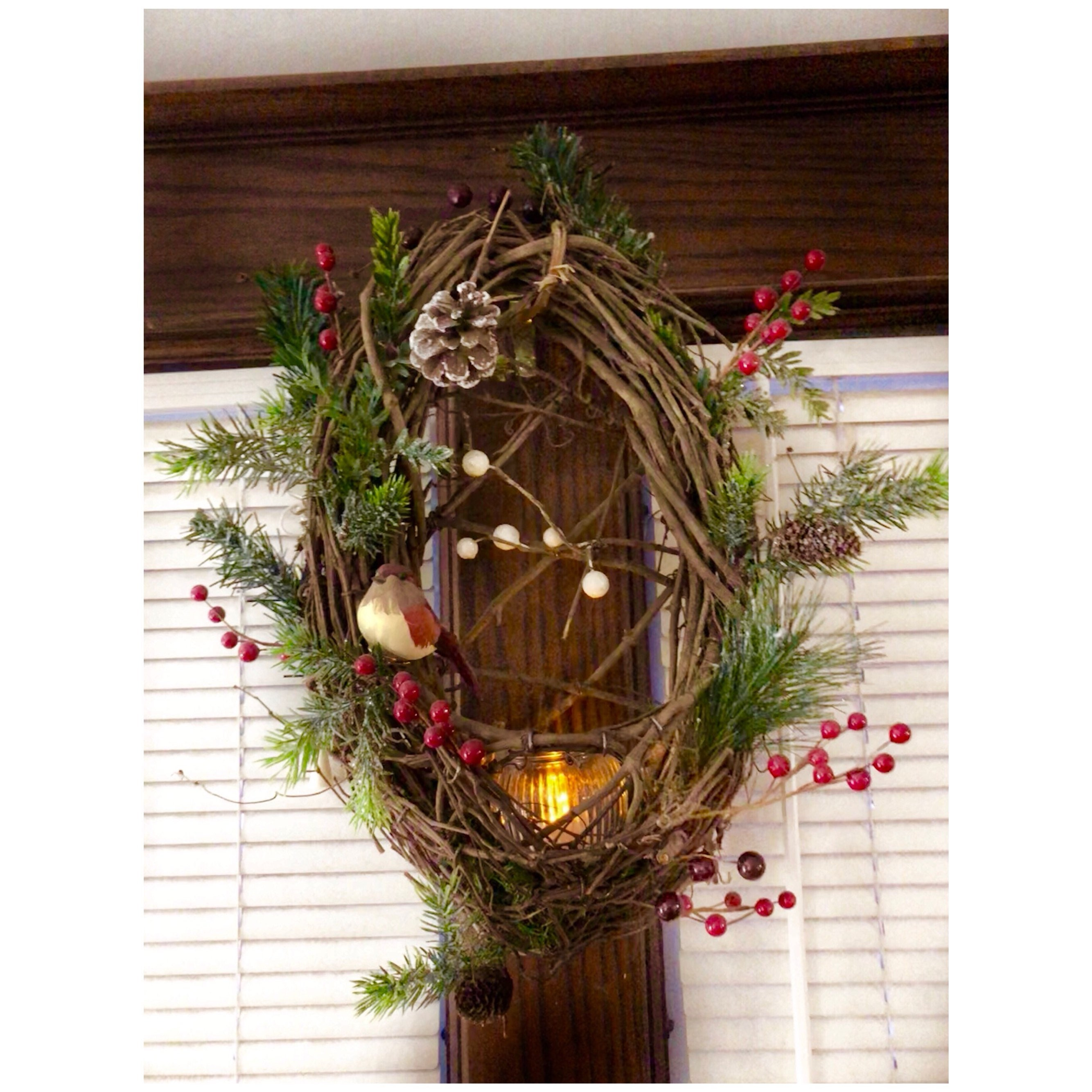 825d66737e11f Holiday Grapevine Wreath Bird Nest Wreath and candle holder