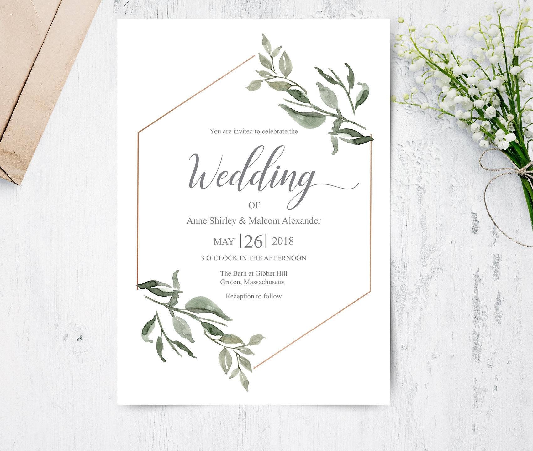 Wedding Images For Invitations: Greenery Geometric Wedding Invitation Botanical Invitation
