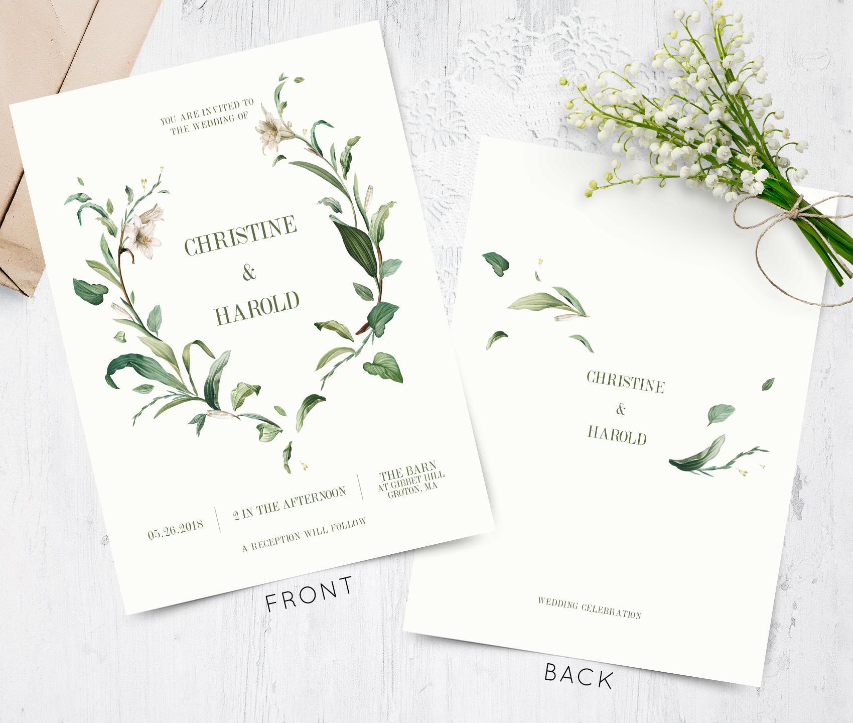 Greenery Wedding Invitation Green Leaf Invitation Botanical