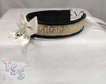 Cream and Gold Patterned Webbed Ribbon Choker Collar