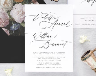 Elegant Wedding Invitation Set, Printed Minimalist Wedding Invitation, Modern Wedding Invitation,
