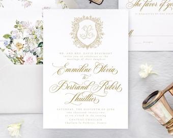 Watercolor Wedding Invitation Set, Monogram Wedding Invitation Suite, Elegant Wedding Invitations,