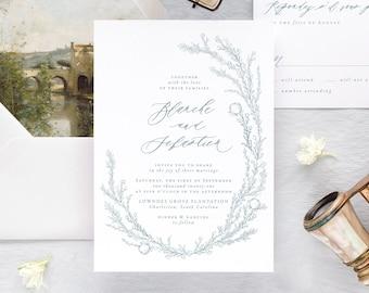 Fine Art Wedding Invitations, Dusty Blue Wedding Invitation Set, Floral Wedding Invitation Suite,