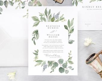 Eucalyptus Wedding Invitation, Watercolor Wedding Invitation, Greenery Wedding Invitation Printed, Green Wedding Invites,