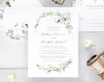 Rustic Wedding Invitation, Greenery Wedding Invitations, Botanical Wedding Invitation Set,
