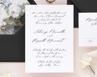 Modern Calligraphy Wedding Invitation Set, Romantic Wedding Invitations, Dark Floral Wedding Invitation Suite,