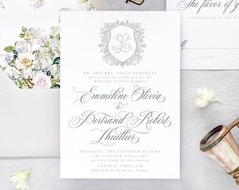 Elegant Wedding Invitations, Floral Wedding Invitation Set, Classic Wedding Invitation,