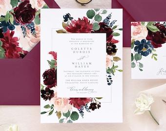 Rustic Wedding Invitation Set, Burgundy Floral Wedding Invitation, Fall Wedding Invitations,