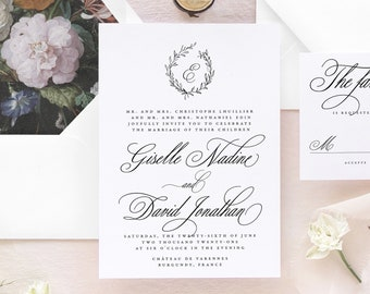 Dark Floral Wedding Invitation, Calligraphy Wedding Invitation Suite, Elegant Wedding Invitations,