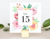Table Numbers for Wedding - Floral Wedding Table Number - Printed Table Number Card - Reception Table Number - Table Numbers Wedding