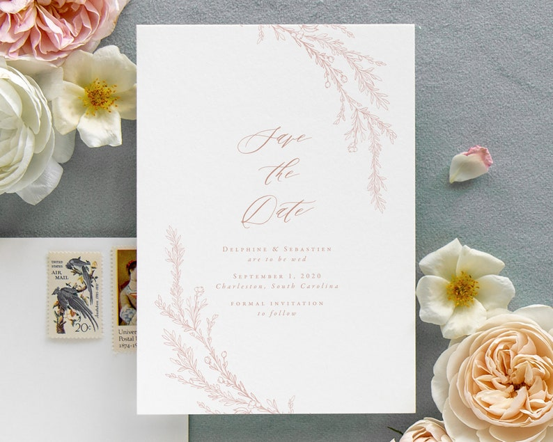 Pink Floral Wedding Save the Date Cards Dusty Rose Save the image 0