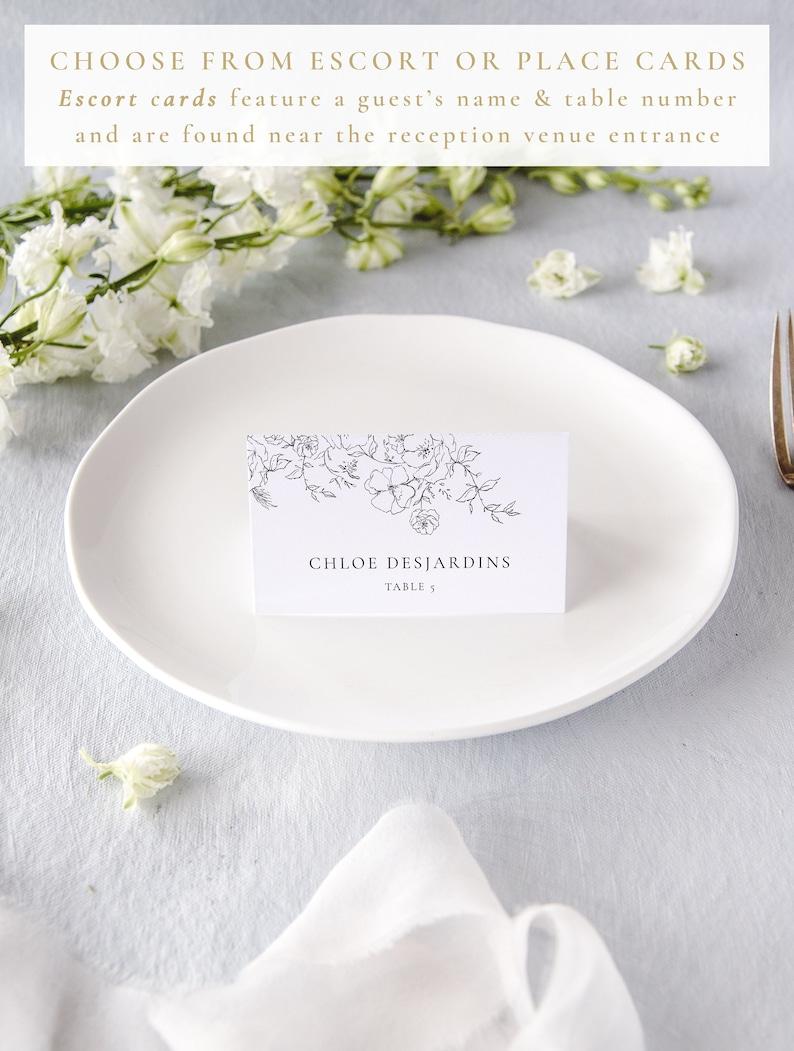 Name Cards Wedding Elegant Wedding Place Card, Floral Wedding Place Cards Printed Escort Cards