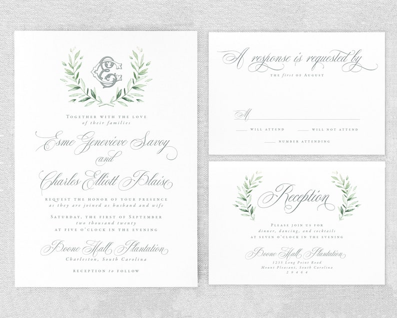 Monogram Wedding Invitation Suite  Greenery Wedding image 0