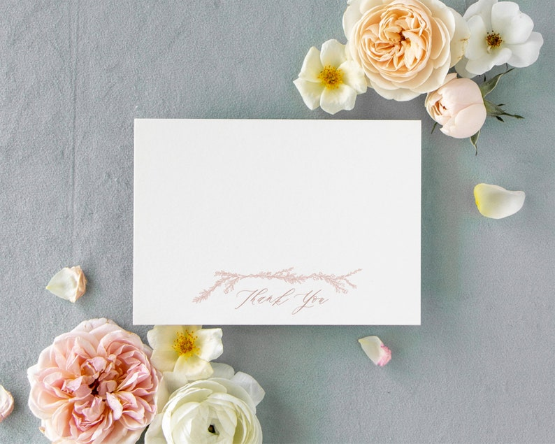 Pink Floral Thank You Cards Wedding  Dusty Rose Wedding Thank image 0