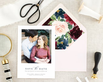 Winter Save the Date Cards - Fall Wedding Save the Dates - Floral Wedding Save the Date Card - Burgundy Wedding - Navy Wedding - Set of 10