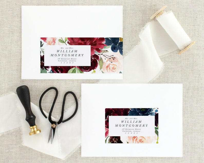 Fall Wedding Invitation Address Labels Floral Wedding Address Stickers Navy Blue Wedding Address Labels Address Labels For Wedding