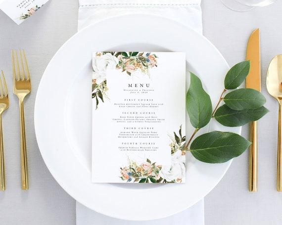 Vintage Wedding Menu Romantic Wedding Table Decor Floral Wedding Menu Printable Dinner Menu Blush Wedding Menu Cards Pink Wedding
