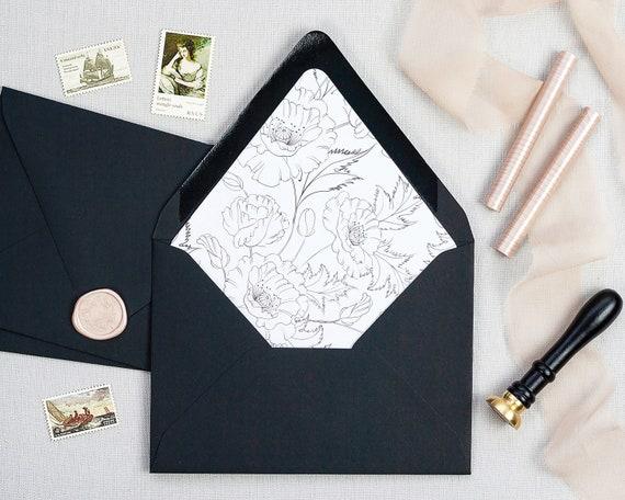 Lined Envelopes For Wedding Invitations Vintage Wedding Etsy