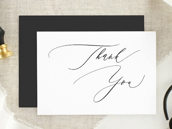 Calligraphy Thank You Modern Thank You Card Black And Etsy