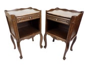 Pair of nightstands Louis XV style vintage wood nightstand end table Cabinet old shabby chic furniture has drawers vintage France