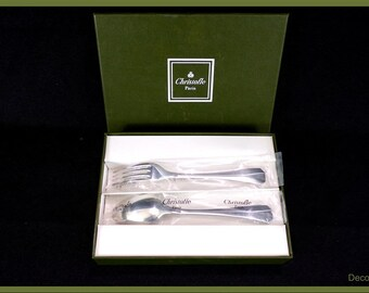 Box of cutlery from Christofle paris new in box vintage France vintagefr birth gift, baby shower