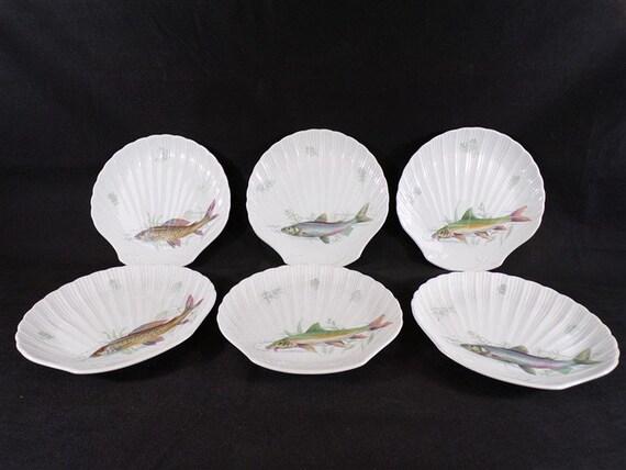 6 assiettes à poisson vintage forme coquille saint jacques vaisselle vintage France vintagefr déco de table