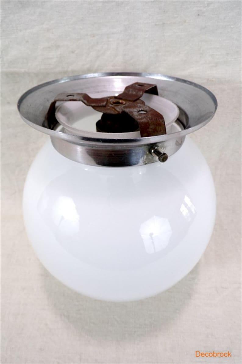 Vintage ball plafonnier opaline metal support art deco shabby chic vintage France vintagefr