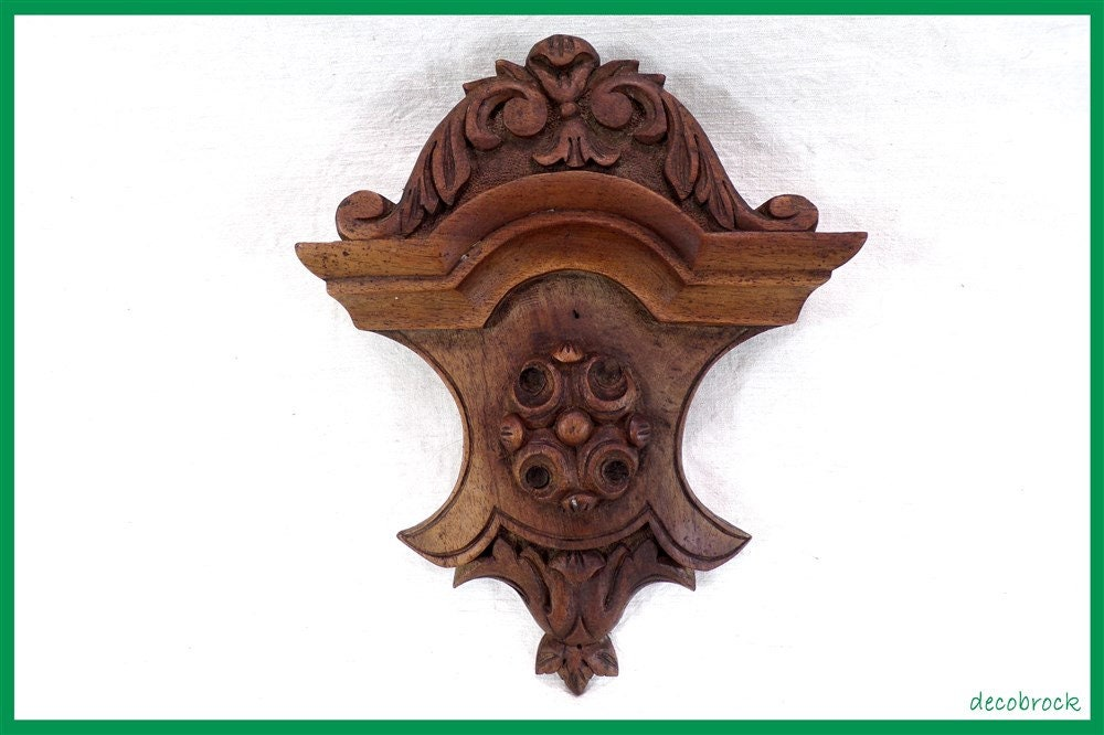 plaque d corative fronton en bois massif sculpt d coration etsy. Black Bedroom Furniture Sets. Home Design Ideas