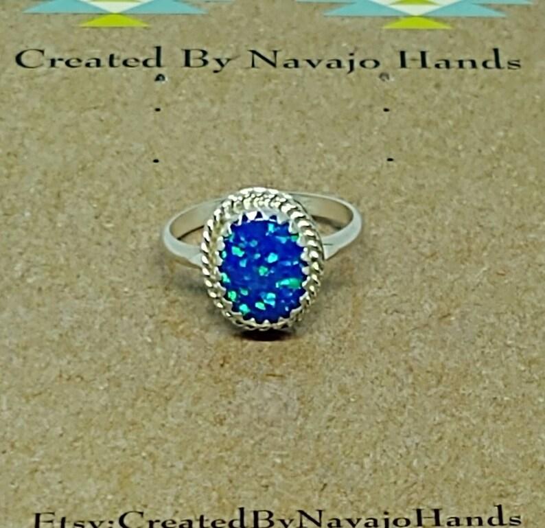 Sterling Silver Dark Blue Fire Opal Ring Navajo Handmade