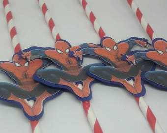 Spiderman paper straws