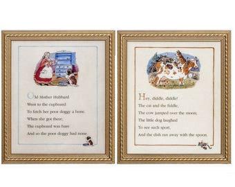 Set of 2 - Nursery Rhyme Art Prints, Hey Diddle Diddle & Old Mother Hubbard by Melanie Cargill, Framed or Unframed, Childrens, Kids Art