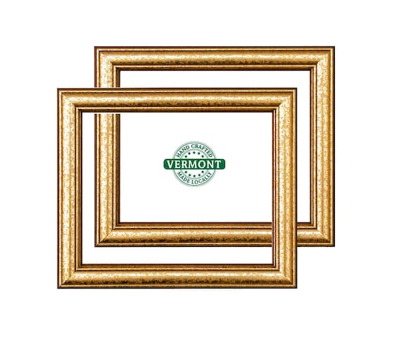 Set Of 2 8x10 Weathered Gold Picture Frames Gold Wood Photo Etsy