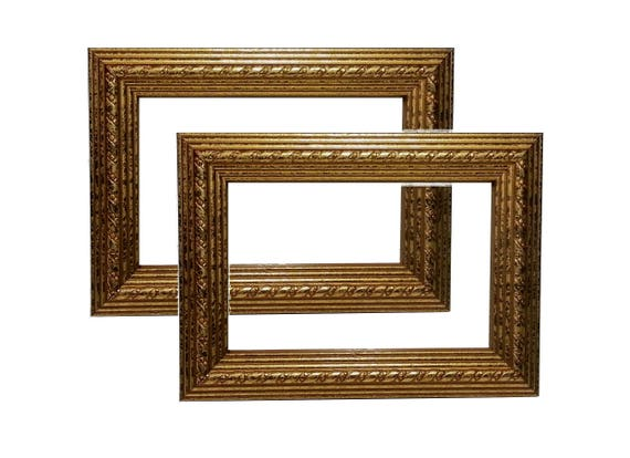 Set Of 2 Gold Picture Frame Photo Frame Gold Foil Wood Etsy