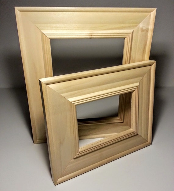 Wide Unfinished Wood Picture Frame Raw Photo Frame Frame Etsy