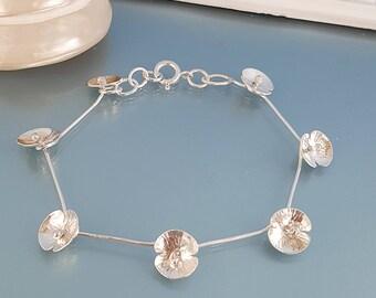 Silver Poppies, poppy bracelet, poppy jewelry, silver bracelet, flower garland chain, poppy links chain, UK silver jewellery gift for her