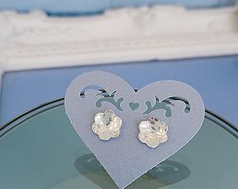 Handmade sterling silver flower print earrings, Silver flowers ear studs, Dainty poppy jewellery, handmade gift girlfriend wife mum