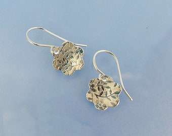 Silver flower earrings, handmade floral pattern earring jewellery, embossed sterling silver earrings gift girlfriend wife mum