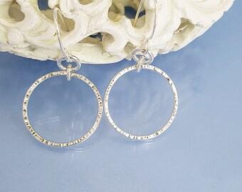 Hooped earrings hammered silver, handmade hoops jewellery gypsy boho silver gift for girlfriend wife mum, Royal Duchess style