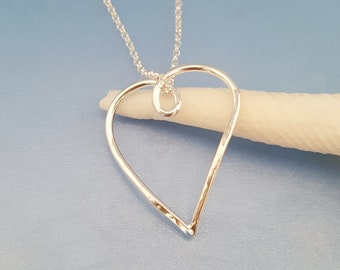 Handmade open heart silver pendant necklace, rustic hammered wire heart, twisted heart sterling silver gift idea girlfriend wife mum