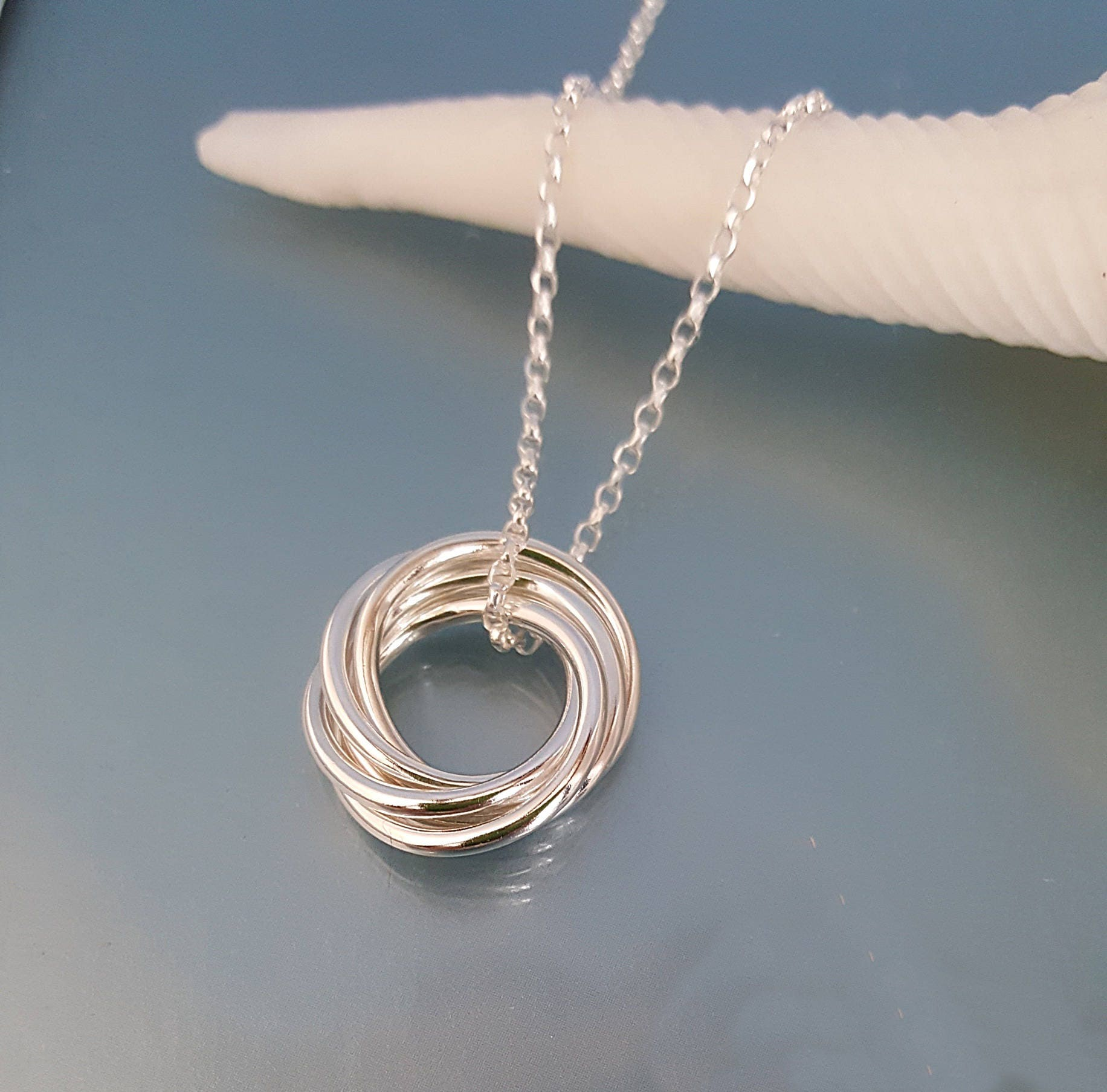 50th Birthday Jewellery 5 Entwined Rings Silver Circles