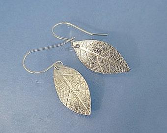 Handmade solid silver leaf earrings, embossed sterling silver leaves skeleton imprint earrings, silver jewellery gift girlfriend wife mum