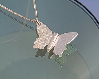 Handmade silver butterfly necklace, dainty floral embossed butterfly pendant, delicate nature jewellery gift idea girlfriend bridesmaid mum